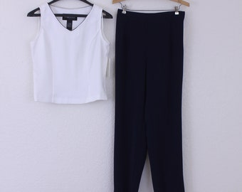 2 Piece Top and Pants Set  in Solid White and Blue Sleeveless Size 8 Petite