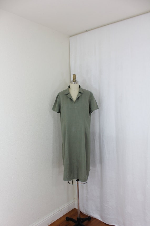 Casual loose fit linen dress in olive green