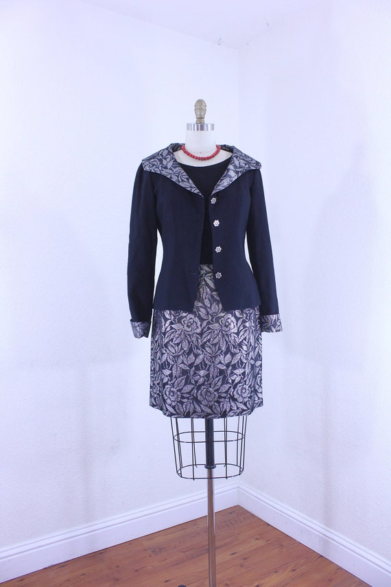 Vintage Two Piece Set   Black Wool and  Metallic S