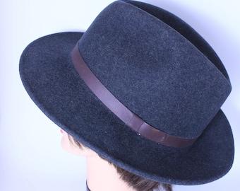 Vintage Pendleton Gentlemen's  Hat / Indiana Jones Hat  / Charcoal Gray /  Fedora /   Size X XL / A199-001
