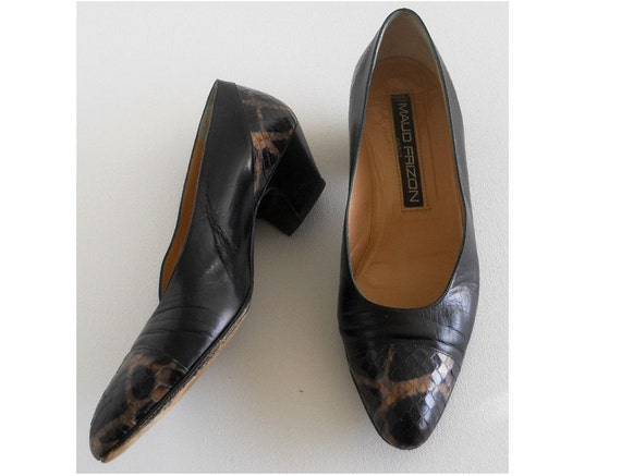 vintage 1980s snake and leather pumps, by Maud Fri
