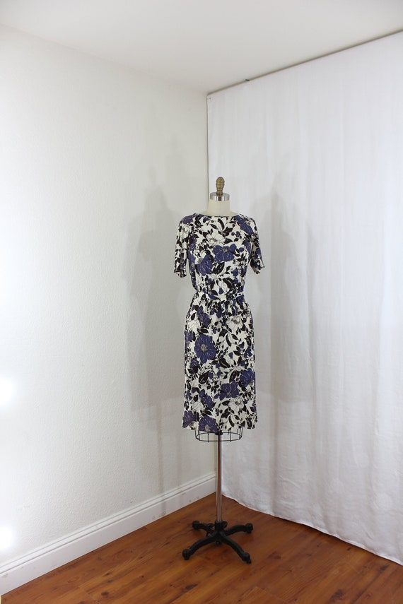 vintage dress in floral prints by designer Nelly D