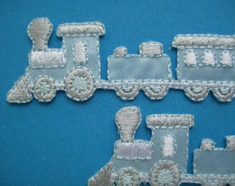 2 pcs Iron-on Embroidered Applique Train 3.5 inch