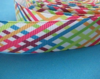3 Yards Printed Grosgrain Ribbon Rainbow Width: 7/8 inch