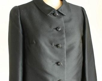 Vintage Black Jacket 1960's Scalloped Edge