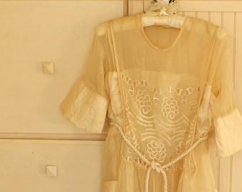 Antique 1920's Silk Wedding Dress