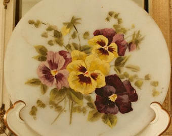 Antique Hand Painted Pansies Mt Washington/Pairpoint Glass Dish