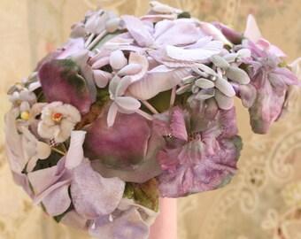 Vintage Ladies' Hat Purple Pansies Velvet Ranleigh 1950's