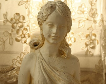 Vintage Greek Maiden and Gargoyle Garden Statue Fountain