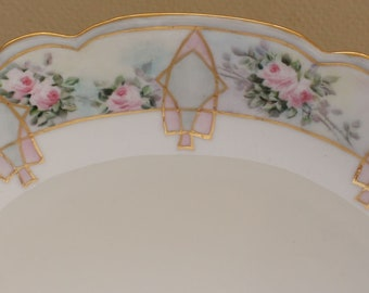 Beautiful Antique Bavarian Hand Painted Oval Serving Dish Pink Roses