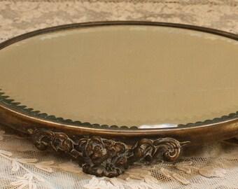 Wonderful Antique Oval Plateau Mirror