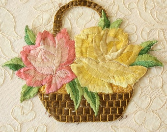 Antique Silk Embroidery Roses Basket Applique French Very Large