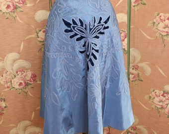 Vintage 1950's Appliqued Blue Circle SKIRT made from Dress-One of a Kind