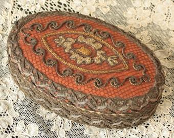 Antique French Silk Metallic Trim Trinket Box Sewing Rare Design 1920's