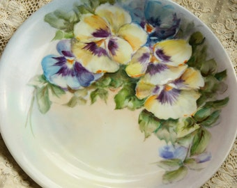 Antique Pansies China Plate Hand Painted- Pretty Soft Colors