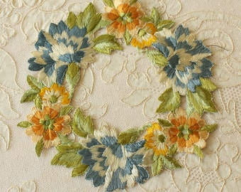 Antique Silk Embroidery Floral Wreath Applique French Very Large
