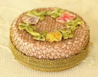 Antique 1920's French Ribbon Work Flowers Powder Box