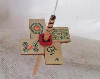 Spiral Tip Drop Spindle, Bamboo Mahjong Tile and Maple, High Whorl 20g