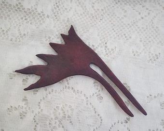 Purpleheart Hair Fork, Carved wood, bun holder