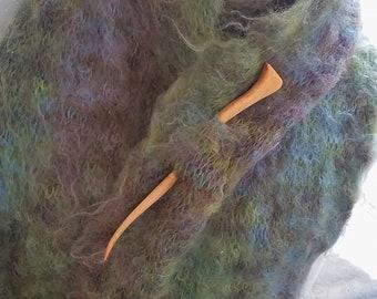 Shawl Pin, Hair Stick, Carved Maple curvy natural wood bun holder