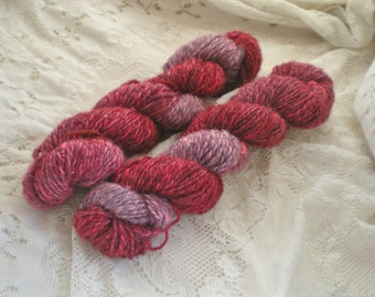 Handspun Wool Alpaca Blend Yarn light worsted weight  Hand dyed coils 100 yard skeins art yarn