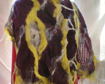 Nuno Felted Scarf Alpaca and Cotton Gauze Gold white and Brown on Wine Hand dyed