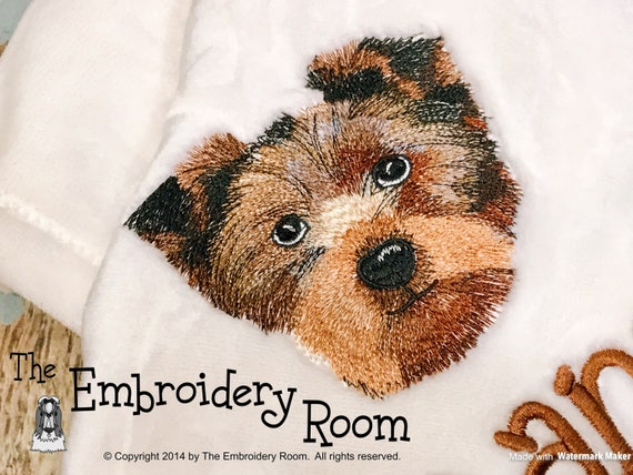 Yorkie Floppy Ears Embroidered Dog Blanket Etsy