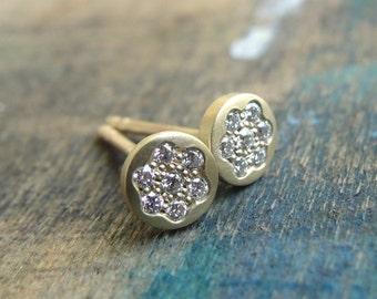 Diamond Pave Earrings , Diamond Earrings , Diamond Pave Studs , Diamond Posts , Gold Diamond Studs, Gold Stud Earrings, White Diamond Posts