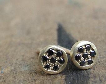 Black Diamond Earrings  - Black Diamonds Gold Earrings -  Diamond Studs - Pave Diamond Earrings - Diamond Posts - Stud Earrings