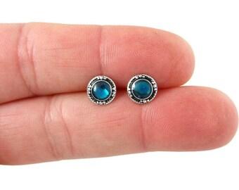Abalone earrings 5mm Paua shell earrings studs Pink Abalone jewelry in sterling silver