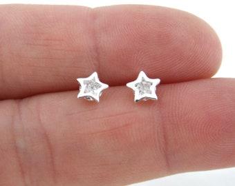 5641a5d4a Star Earrings in Sterling Silver, Crystal Star Earrings, Tiny Star Earrings,  Sterling Silver Earrings, Everyday Earrings, Helix Studs