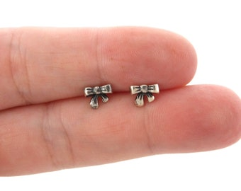Sterling Silver Studs Cute Bow Studs Dainty Stud Earrings Ribbon Bow Studs 10 mm Small Bow Studs.