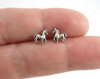 Horse Earrings in Sterling Silver, Horse Studs, Kids Earrings, Tiny Studs, Animal Earrings,  Colt Earrings, Cowgirl Earrings, 925 studs