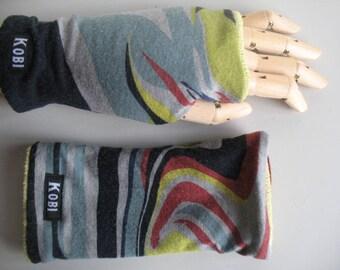 Double face, vintage, fingerles gloves