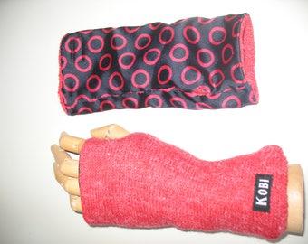 Double face knit fingerles gloves