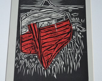 Fishing boat, Holy Island, Northumberland, Woodcut print with Chine Colle.
