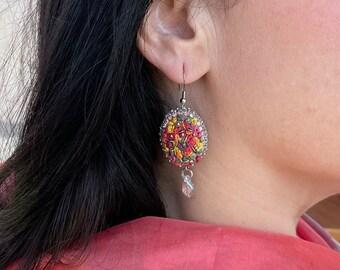 Oval lesbian earrings Chunky Aesthetic earrings cool dangle Multicolor Rainbow French embroidery floral boho earrings miniature flowers