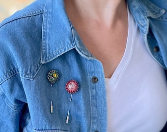 Flower Lapel Pin Brooch Red Boutonniere Buttonhole Fashion Wedding Favors Tuxedo Suit Vintage Style Embroidered beads Denim jacket pin