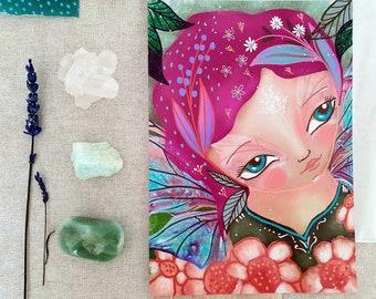 Daisy Fairy art print - fairy wall art, fae art print, botanical art, fantasy art print, fairy art by Susana Tavares, fairy magic