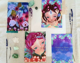 I believe in fairies - set of 4 art prints, fairy wall art, flower art, botanical art, fairy art, fairy quotes, illustrations, prints