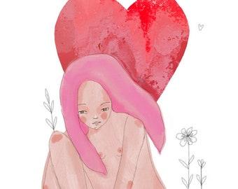Self love - woman art print, self love energy, digital art, intuitive art by Susana Tavares, divine feminine energy