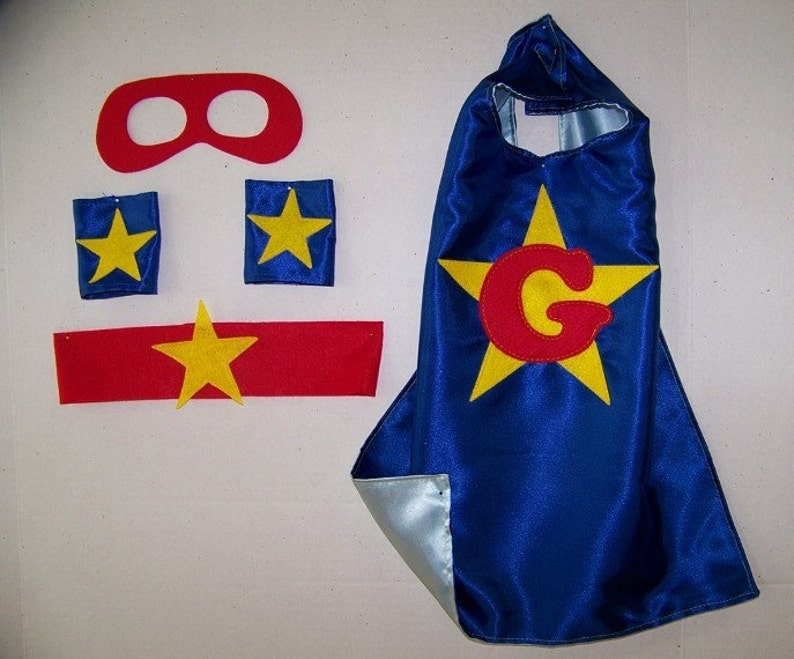 Personalized, Customized Double Sided cape with Mask, Cuffs and Belt