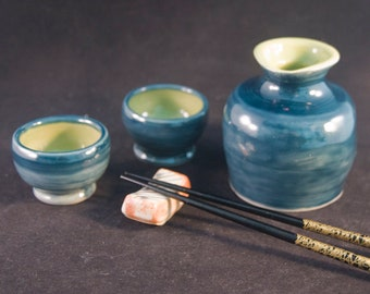 Three Piece Sake Set / Sake Pourer and Two Cups / Storm Blue and Wasabi Green / Japanese Wedding Gift / Gift for Sake Lover / Gift Under 20