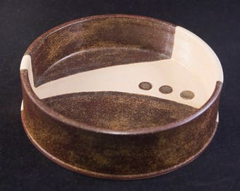 Beautiful Bowl / Functional Art / Sophisticated Dog / Multiple Cats / Brown / Cream Swash / Heavy Bottom / Gift Under 15 / Gift for Pet