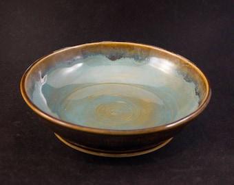 Zen Bowl / Brown / Aqua /  Turquoise / Functional Art / 9 Inch Round /  Housewarming Gift / Wedding Present / Special Gift / Gift under 30