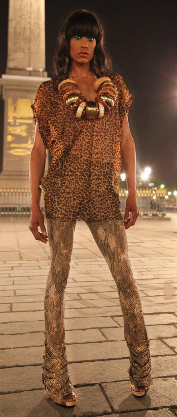 ea10ca545e7 Sheer Mesh Textile Tunics in Cheetah Print | Etsy