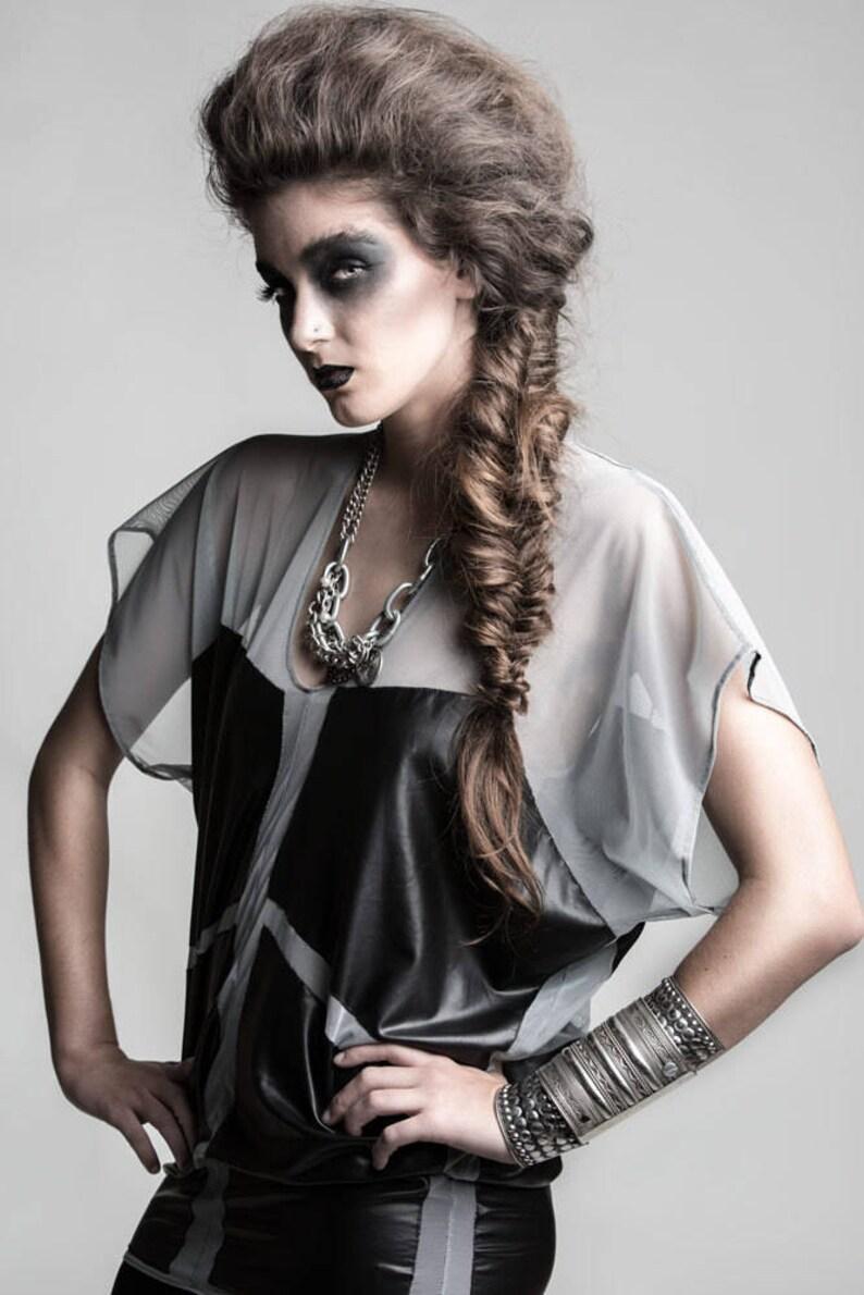 9e28987b88f Plus Size Sheer Mesh Color Block Tunic Dove Gray & Black | Etsy