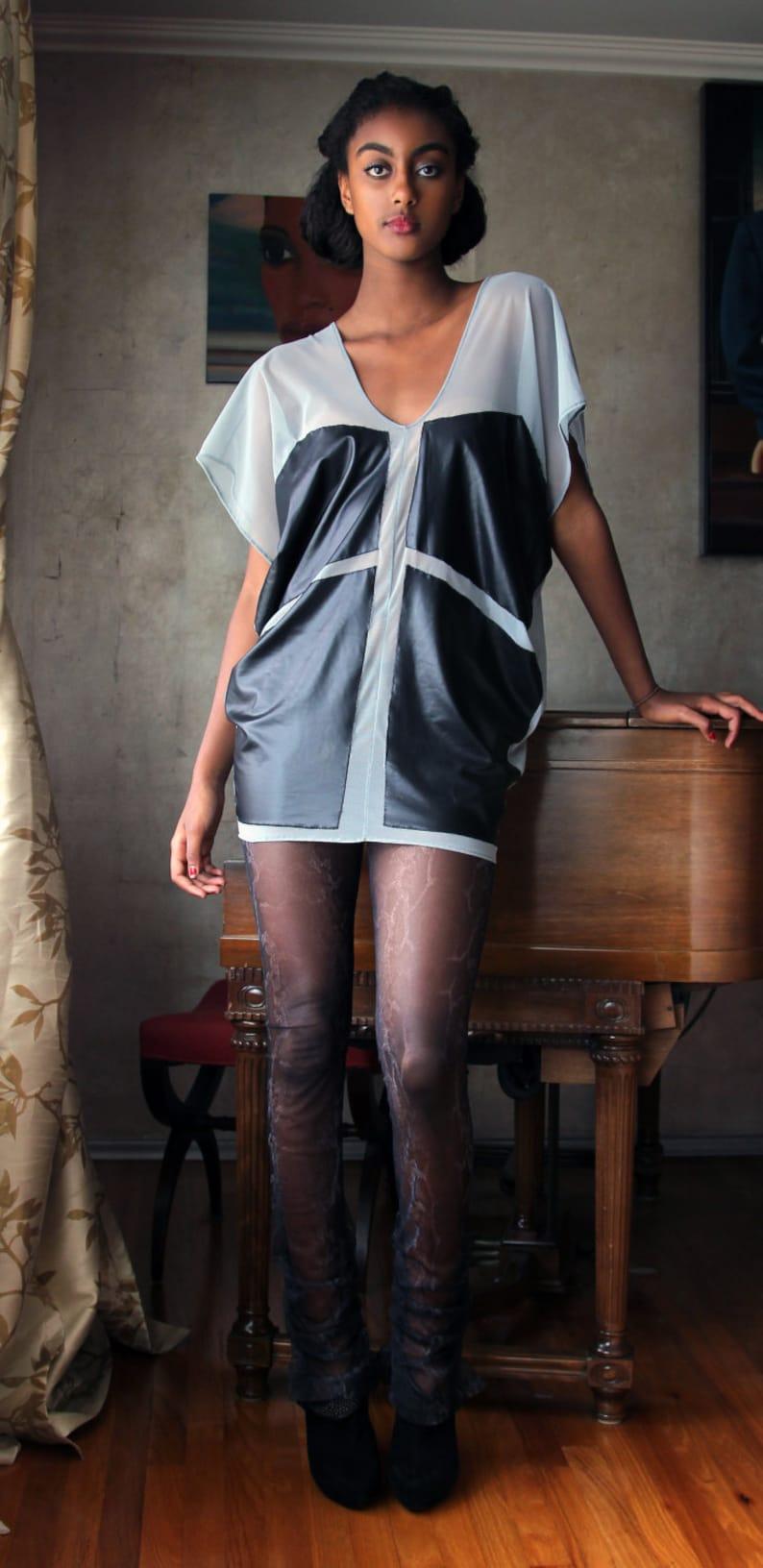 33e564c7ca1 Sheer Mesh Color Block Tunic Dove Gray & Black | Etsy
