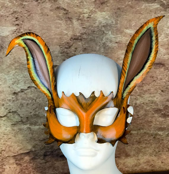 March Hare Leather Mask - Orange