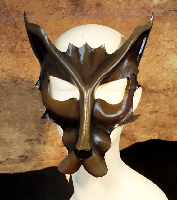 Gray Wolf Leather Mask
